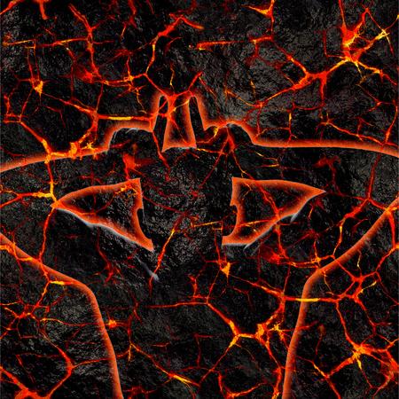 Figure d'un homme se présentant comme le diable contre la lave chaude fracturée. Feu de l'enfer, Halloween.