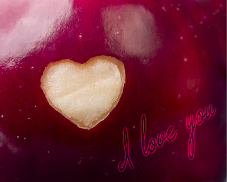 genetically modified organisms: Text I love you written on fresh red apple with a heart shaped cut-out close-up. Healthy eating, life concept.  GMO free genetically modified organisms. Valentines day. Stock Photo