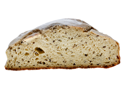 Homemade fresh healthy bread with linseeds on white background.
