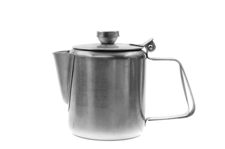 percolator: Silver simple coffee percolator isolated on white background. Stock Photo
