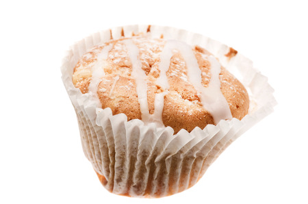 home baked: Home baked tasty cup cake, muffin with frosting on top isolated on white background.