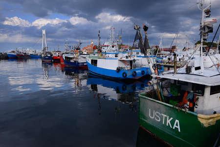 Harbor in Ustka, Poland, Baltic sea.