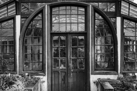 simetry: Old window in black  white Stock Photo