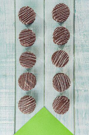 Top view of brazilian home made honey cookie chocolate covered - Pão de Mel
