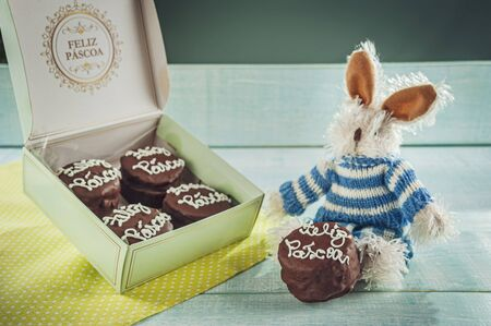 Plush rabbit with honey cookie chocolate covered written Happy Easter in a gift box - Pão de mel