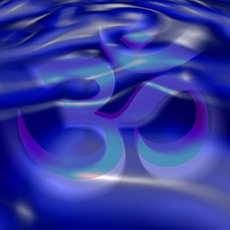 aum: AUM symbol in the color of the 6th chakra Illustration