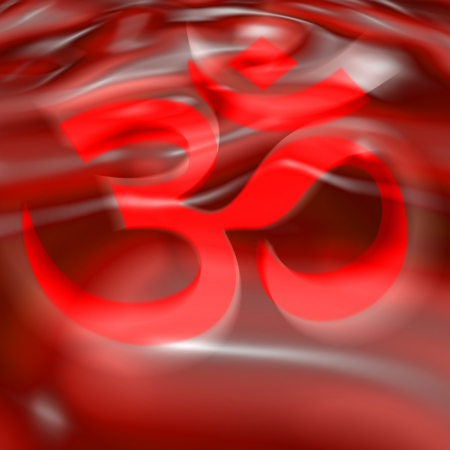 AUM symbol in the color of the 1st chakra