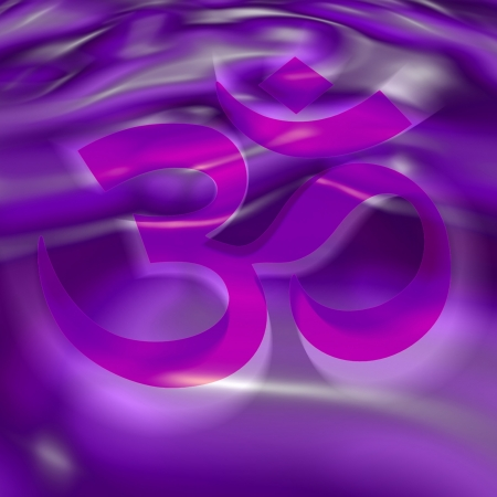 AUM symbol in the color of the 7th chakra Illustration