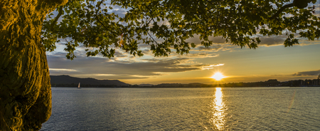 Sunset in the autumn at the beautiful Bodensee Stock Photo