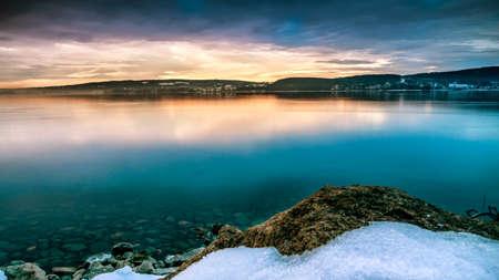 sunrise winter landscape lake constance Stockfoto