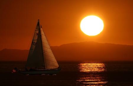sun down at the pacific ocean photo