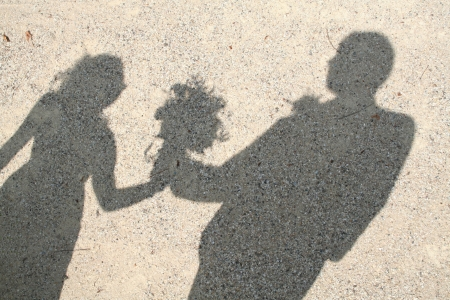 woman shadow: shadow of a bridal couple