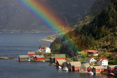 fishing village in Norway Stock Photo