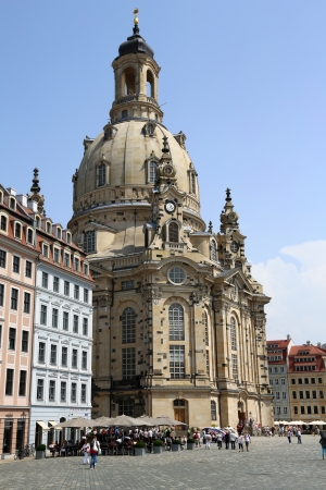 성모 마리아, 드레스덴, 독일의 교회 스톡 콘텐츠