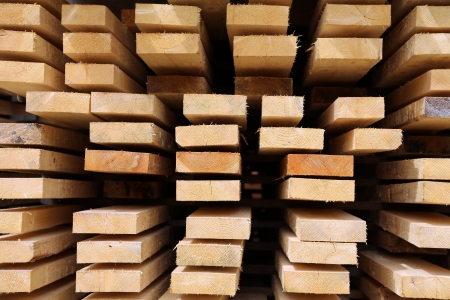 log deck: Edging board in stacks  Stock Photo