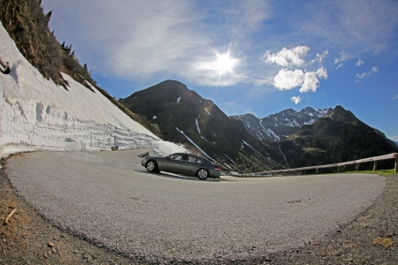 switchback, mountain pass road, S�lkpass, Austria photo