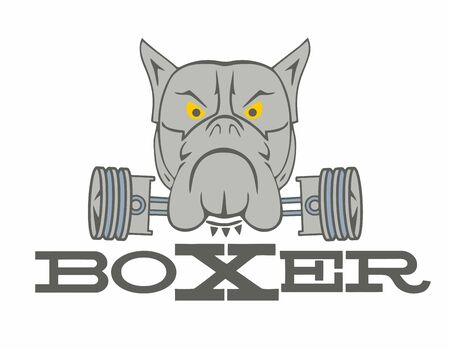 Boxer dog face with two pistons. 矢量图像
