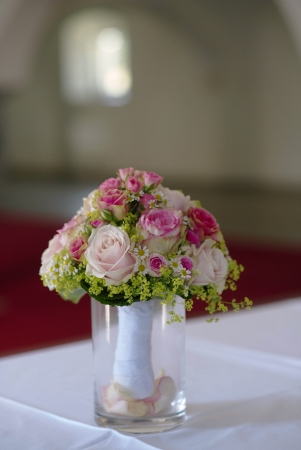 bouqet: flower bouqet for a weeding in a vase Stock Photo