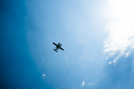 hydroplane: sky view of a seaplane from below Stock Photo