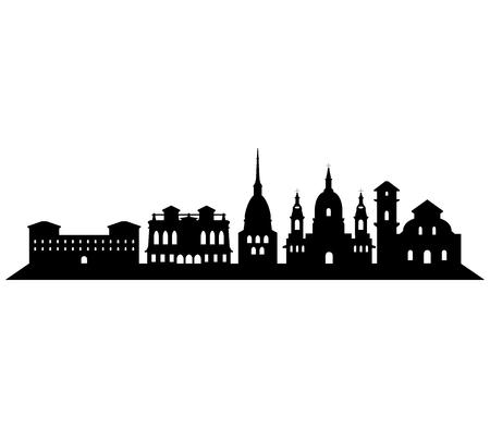 turin: turin skyline on a white background