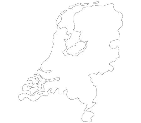 白い背景の上のオランダの地図