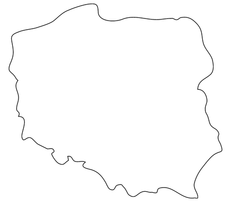 wroclaw: Poland map on a white background