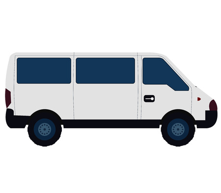 white van: van on white background