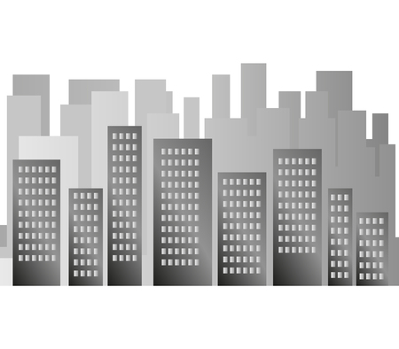 downtown district: City silhouette on a white background Stock Photo