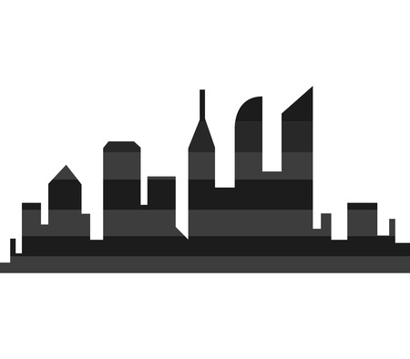 hancock building: City silhouette on a white background Stock Photo