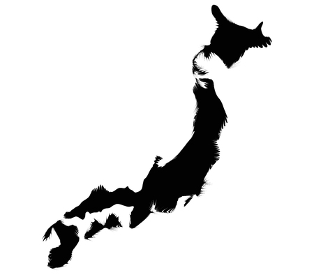 seismic: japan map on a white background