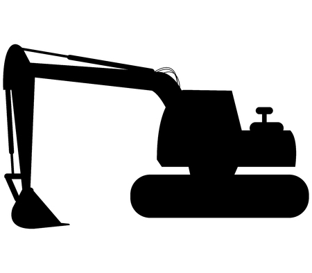 dredge to dig: excavator on white background Stock Photo
