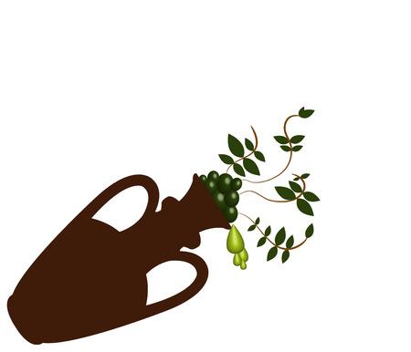 aquarell: olives on white background