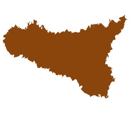 region sicilian: Sicily on white background