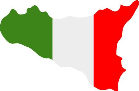 白い背景のシチリア島