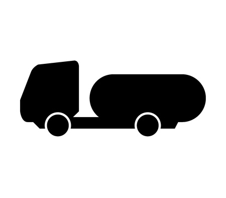 sloping: icon tanker truck on white background Stock Photo