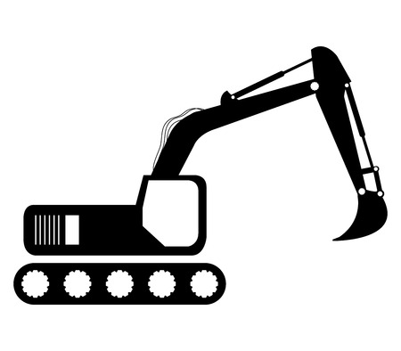 dredger: excavator on white background Stock Photo