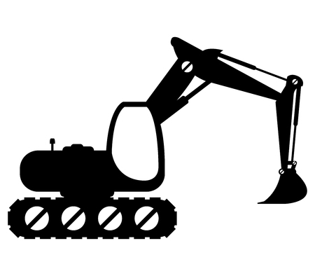 dredger: excavator illustrated on a white background
