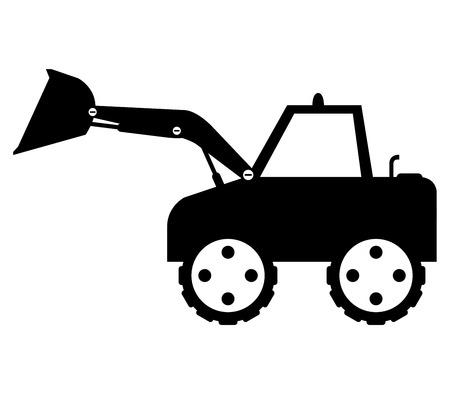 dredger: excavator illustrated on a white background