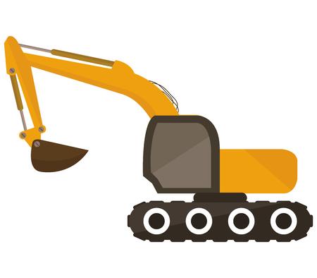 power shovel: excavator on white background Stock Photo