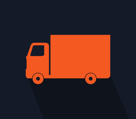 freighter: icon truck illustrated in flat design Stock Photo