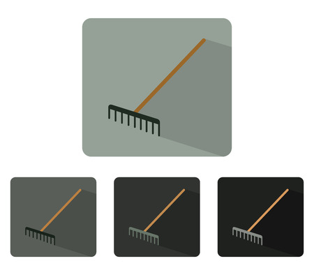 raking: icon rake colorful and illustrated in flat design Stock Photo