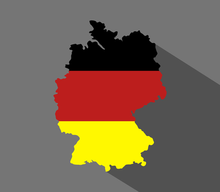 deutschland karte: Deutschland map icon in flaches Design