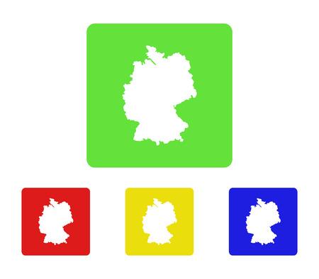 deutschland karte: Deutschland map icon in flaches Design
