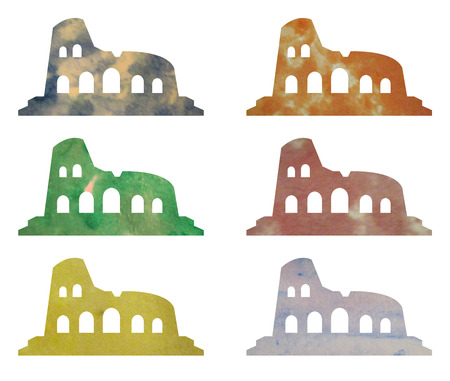 archeology: coliseum in watercolor