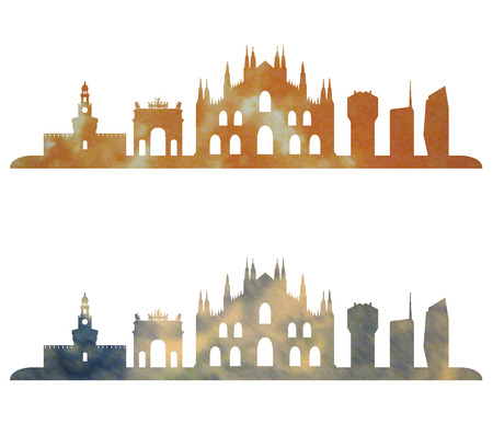 milan: milan skyline in watercolor