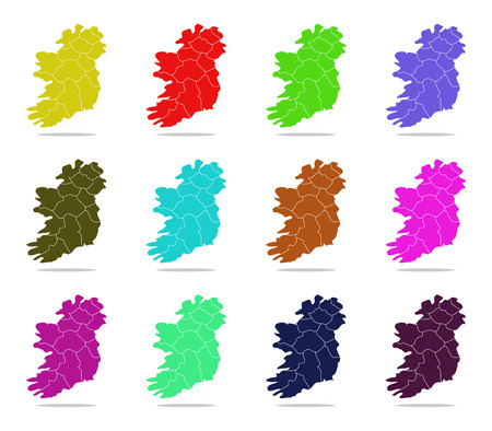 regions: Ireland map with regions Stock Photo
