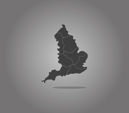regions: England map with regions Stock Photo