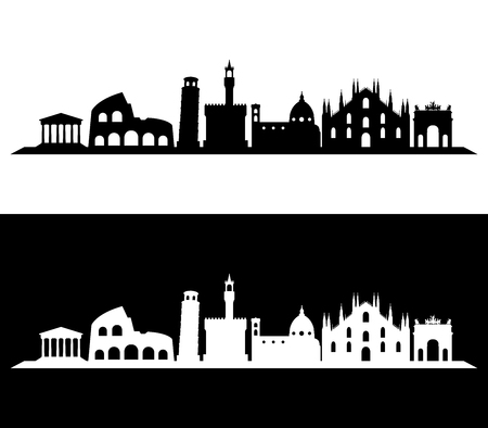 Italy skyline illustrated and colored