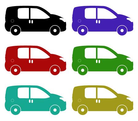 coloured background: icon van illustration on white background