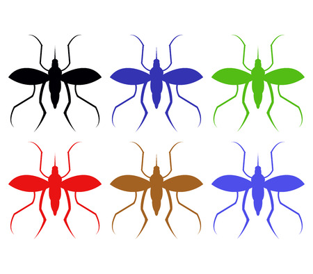 insect repellent: mosquitoes illustration on a white background